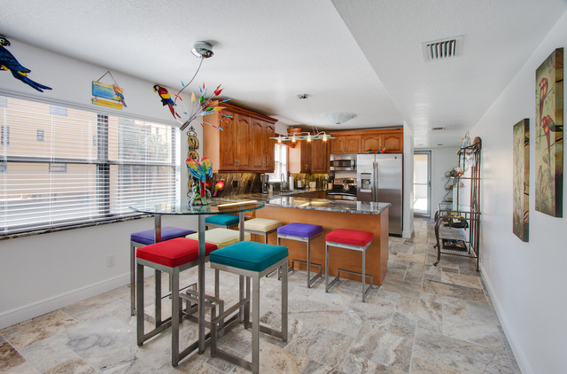 Silver Travertine Tiles Eclectic Kitchen Tampa By