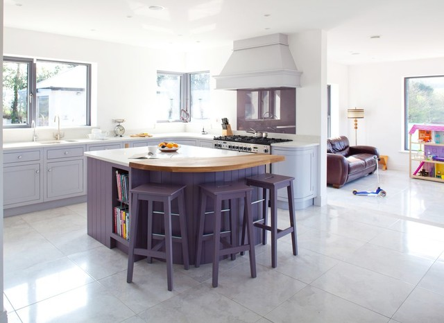 Simple Grey blue& purple contemporary kitchen