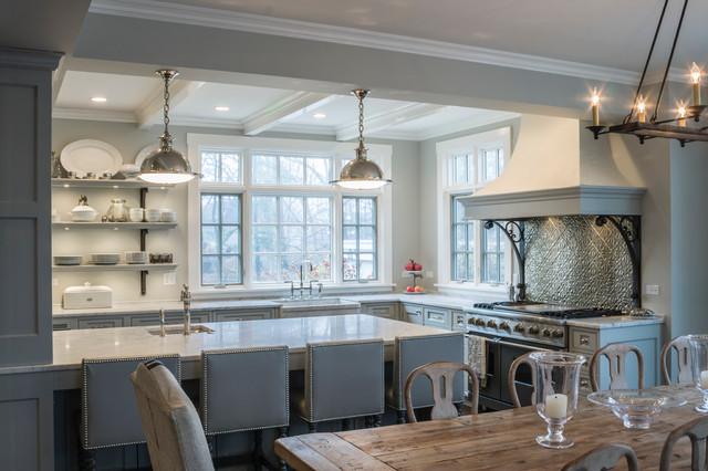 Large Elegant L Shaped Eat In Kitchen Photo In Chicago With A Farmhouse Sink