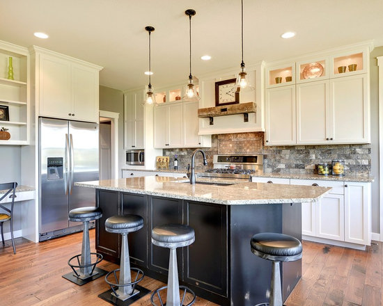 Subway Tile Backsplash Kitchen Design Ideas, Remodels & Photos with Multi-Colored Backsplash