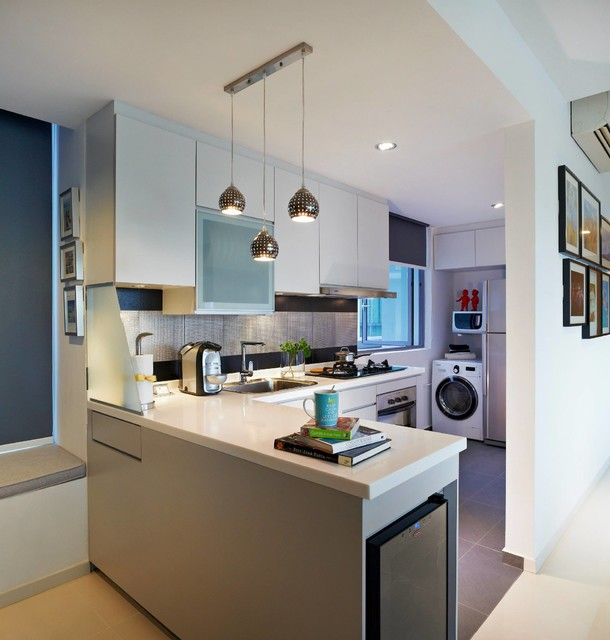 Singapore making small spaces work for you one north residences contemporary kitchen - Making most of small spaces property ...