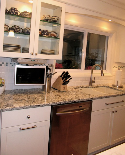 Sink Area With Pull Down Flat Screen Tv Traditional Kitchen