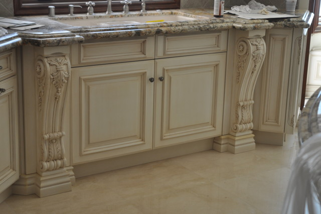 Sink cabinet with hand carved legs traditional kitchen for Carved kitchen cabinets