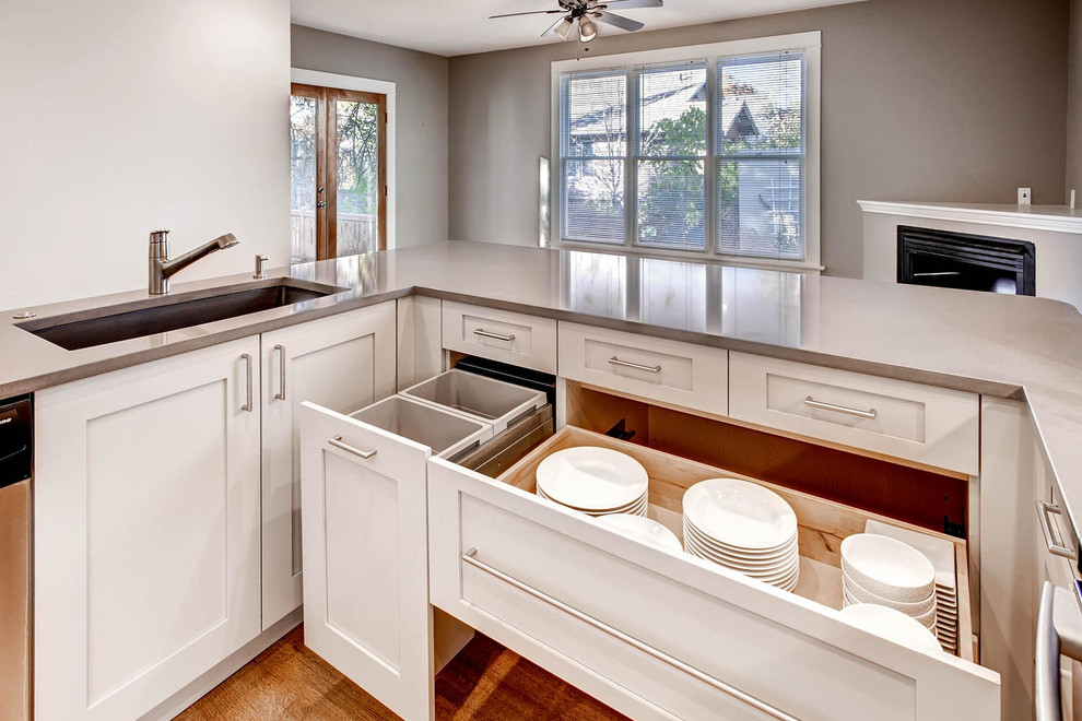 Sink, Dish Cabinets, and Trash Bins - AFTER - Contemporary ...