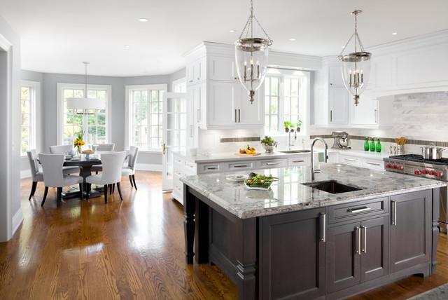 Sino Carrera Marble Irregular Rectangles On Backsplash Traditional Kitchen