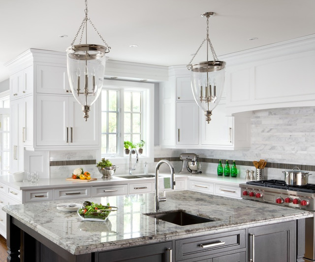 Sino Carrera Marble Irregular Rectangles On Backsplash Traditional Kitchen