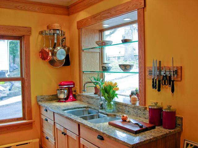 Site Built Oak Cabinets Granite Counter Top Plant Window