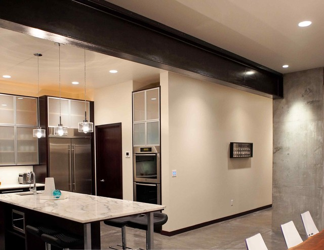 Kitchen and hall to the garage. modern-kitchen
