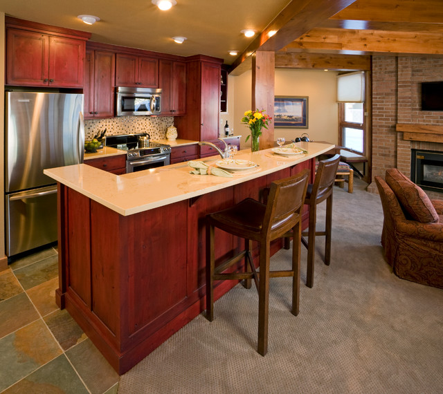 Ski Condo Red Cabinets - Rustic - Kitchen - Other - by Barb ...