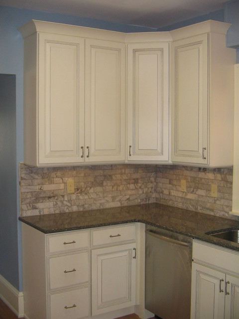 Sky Blue Kitchen With Linen Cabinets Traditional