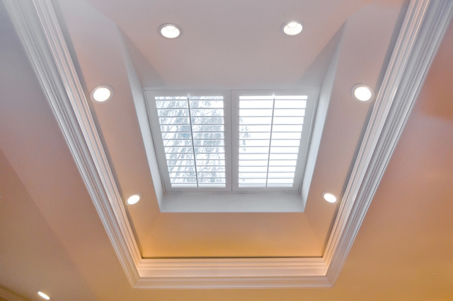 Skylight With Plantation Shutters Over Kitchen Island
