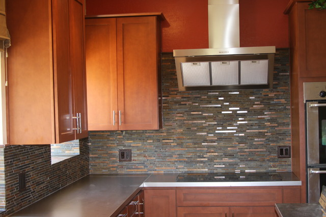 Slate And Metal Backsplash Modern Kitchen