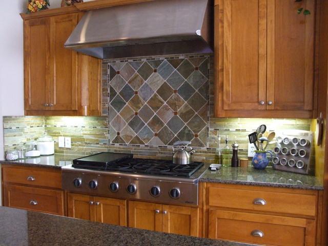 Slate Backsplash - Traditional - Kitchen - Dallas - by Town ...