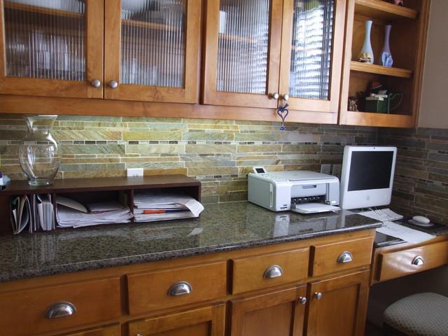 slate backsplash traditional kitchen dallas by town center