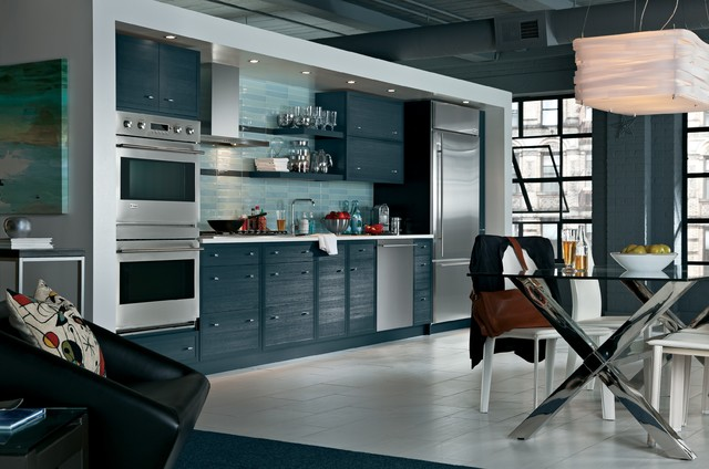 Slate blue monogram modern kitchen san francisco for Slate blue kitchen decor