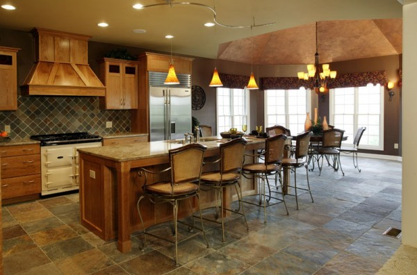 Slate Floor Cherry Cabinets And Granite Countertop