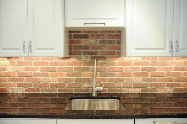 thin brick kitchen backsplash sleek amp simple transitional kitchen in west chester 6097