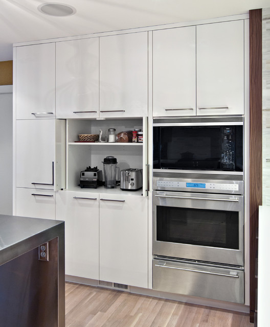 Sleek appliance garage - Contemporary - Kitchen ...