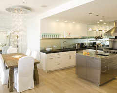 Sleek, elegant kitchen with frosted glass backsplash, staniless steel island contemporary-kitchen