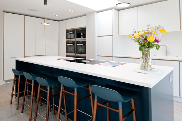 Image result for kitchen and dining sleek blue
