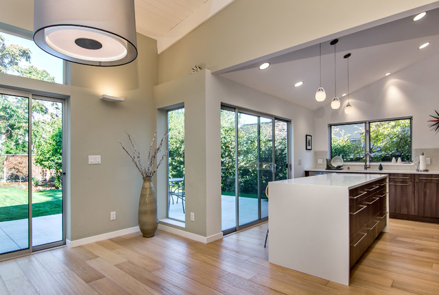 cathedral ceiling room decorating ideas - Sloped Ceilings Midcentury Kitchen san francisco