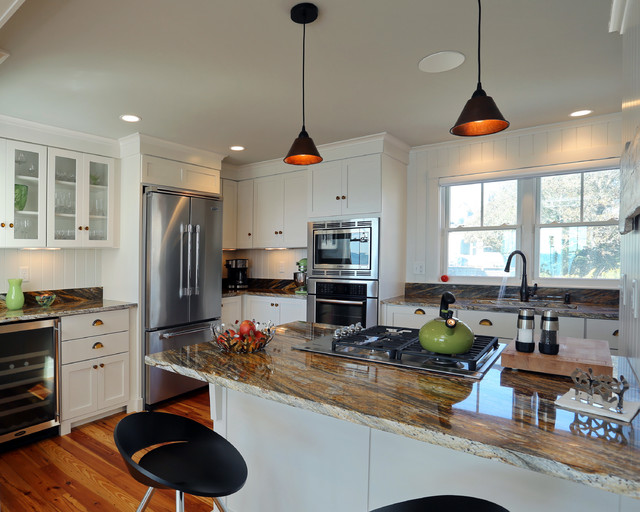 Small beach house lives big beach style kitchen boston by encore construction Kitchen design center virginia beach