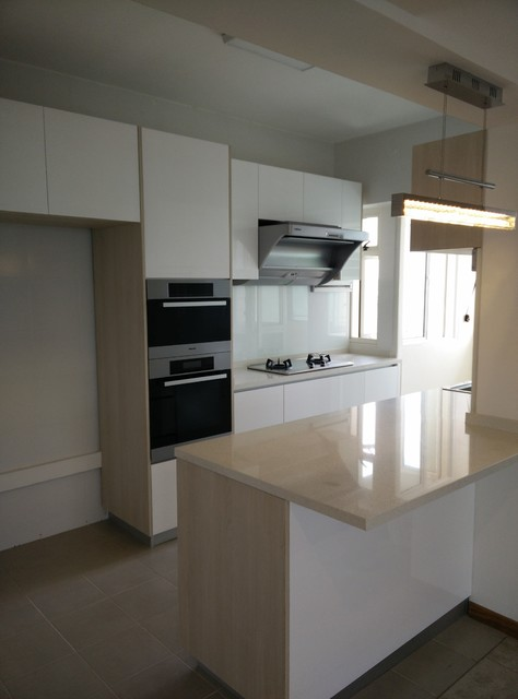 Small Bto Kitchen With Island Kitchen Singapore By Kitchen Livin