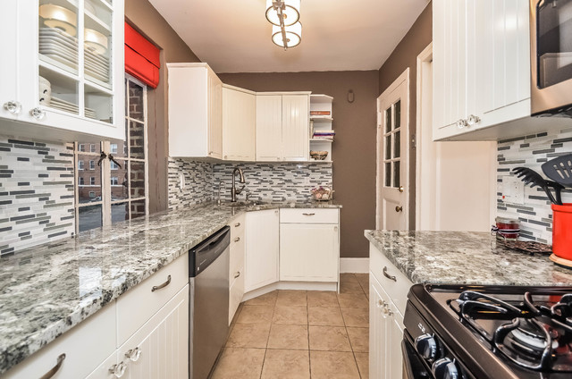 Small galley kitchen traditional kitchen new york for Galley kitchen light fixtures