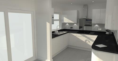 Small Handleless Gloss White and Black Kitchen