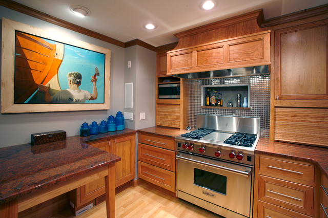 Small Kitchen In Natural Cherry Contemporary Kitchen Other By Essential Home Artisans