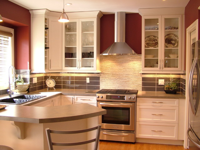 Small kitchen reno white contemporary kitchen for Small contemporary kitchen designs