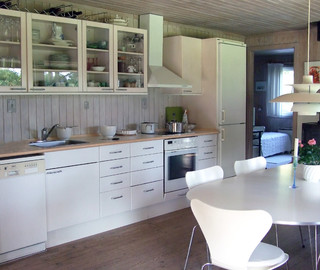 Galley Kitchen White Ice Appliances With White Cabinets