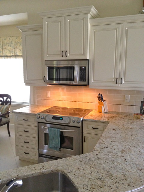 Small Naples Florida condo kitchen traditional kitchen