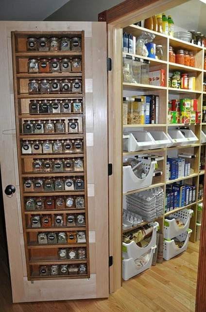 Small Pantry Space Organized Traditional Kitchen