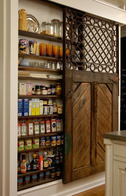 Small Pantry Space Organized Farmhouse Kitchen