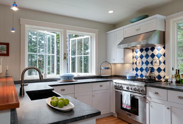Small Point Cottage Beach Style Kitchen Portland