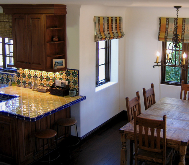 Small Spanish Style Dining Room In Santa Barbara Mediterranean