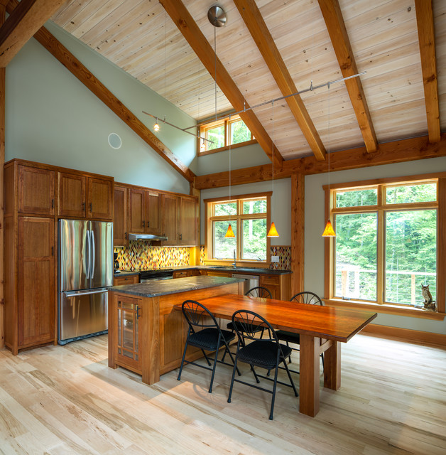 Small Timber Frame Home Rustic Kitchen Ottawa By