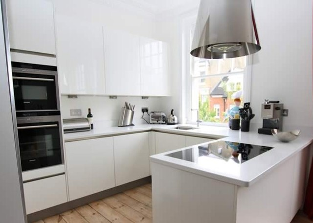 Small U Shaped Kitchen With Peninsula Modern Kitchen London By Lwk Kitchens London