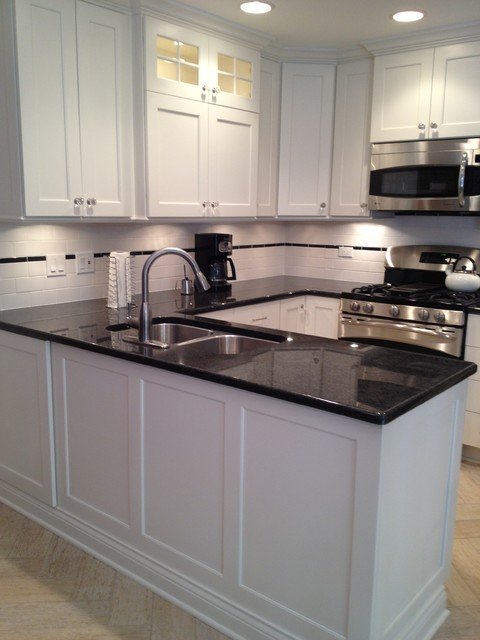 Small U shaped White Custom Painted Kitchen In Skokie
