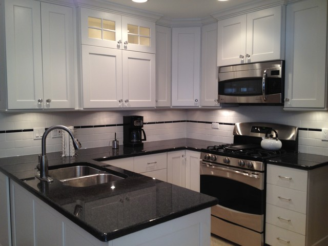 Small U Shaped White Painted Custom Kitchen In Skokie Il Traditional