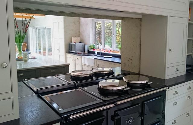 Smoked Antique Mirror Aga Splashback Contemporary Kitchen West Midlands By Mirrorworks The Antique Mirror Glass Company Houzz Uk