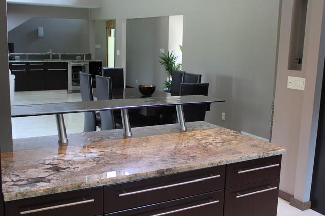 Smokey Cast Glass Breakfast Bar Modern Kitchen By
