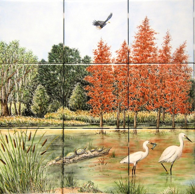 Snowy egrets copper red bald cypress kitchen for Cypress gardens mural