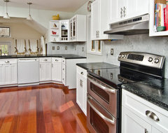 Soapstone Counters with White Carrara Marble Full Backsplash traditional-kitchen