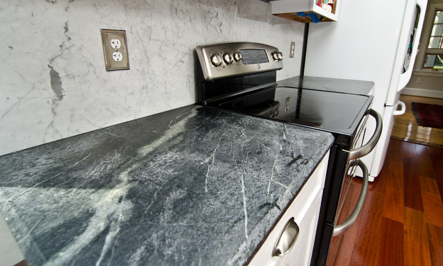 Soapstone Counters With White Carrara Marble Full