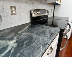 Soapstone Counters with White Carrara Marble Full Backsplash traditional kitchen
