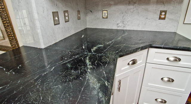 Soapstone Counters With White Carrara Marble Full Backsplash  Traditional Kitchen
