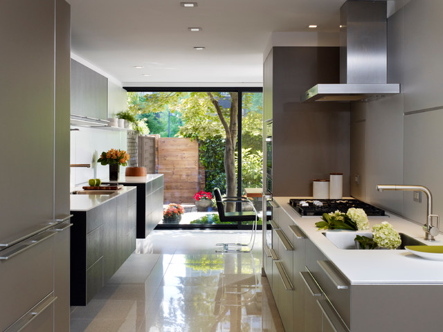 Inspiration for a contemporary galley porcelain floor eat-in kitchen  remodel in Philadelphia with flat
