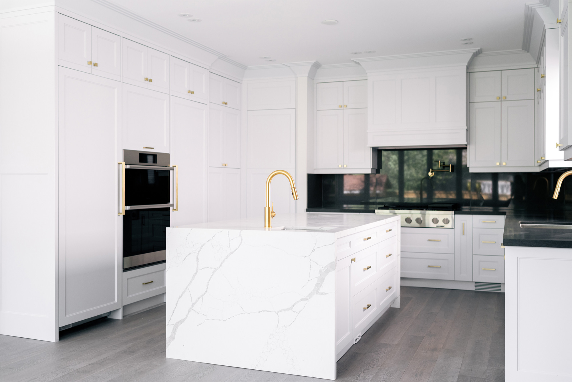 Soft Gray and Gold Kitchen